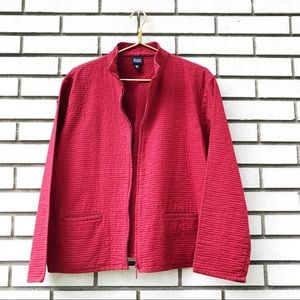 Eileen Fisher Red Quilted Cotton Jacket